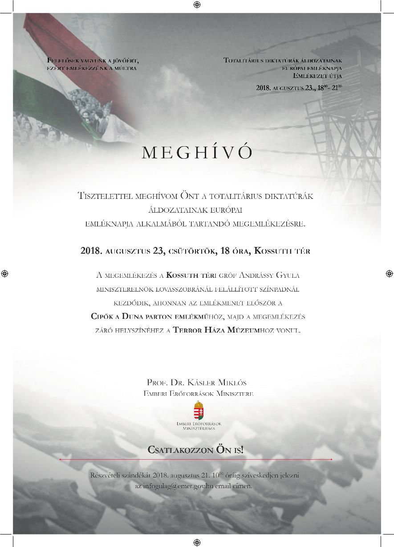 Meghívó- Totalitárius Diktatúrák Áldozatainak Európai Emléknapja, 2018. augusztus 23.