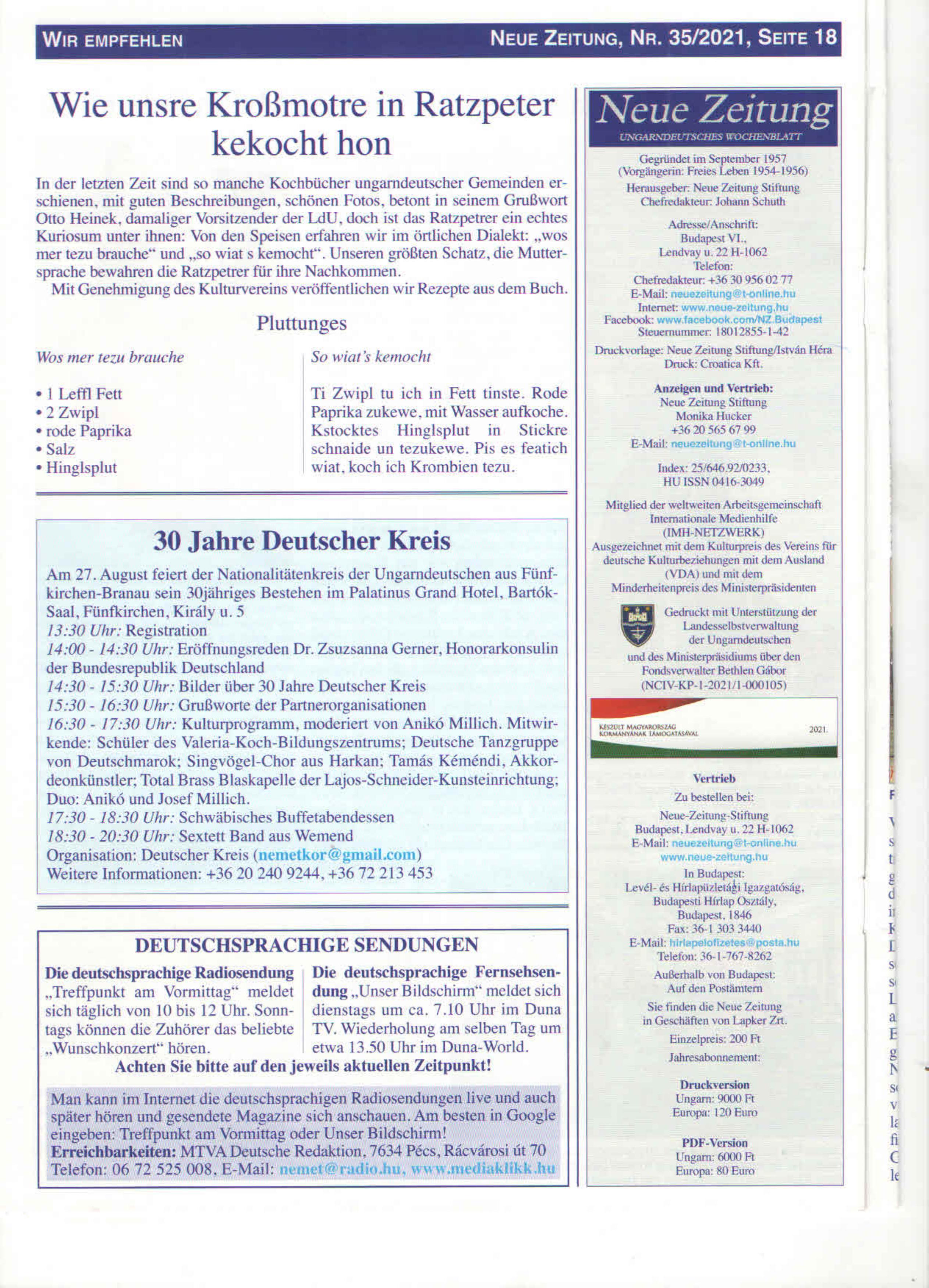 Neue Zeitung cikk
